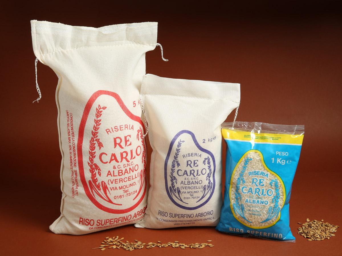Riseria Re Carlo - Riso superfino Arborio - l'autentico riso vercellese di qualità - confezioni da 1kg, 2kg e 5kg
