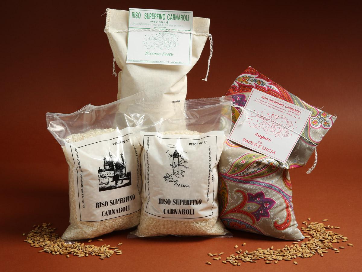 Riseria Re Carlo - possibilità di confezioni personalizzate - l'autentico riso vercellese di qualità - confezioni da 1kg, 2kg, 5kg e natalizie