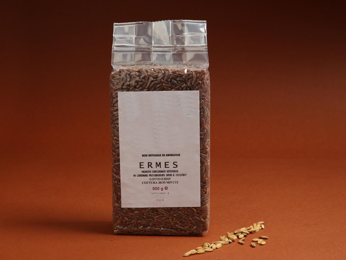 Riseria Re Carlo - Riso integrale ed aromatico Ermes - l'autentico riso vercellese di qualità - confezioni da 500gr