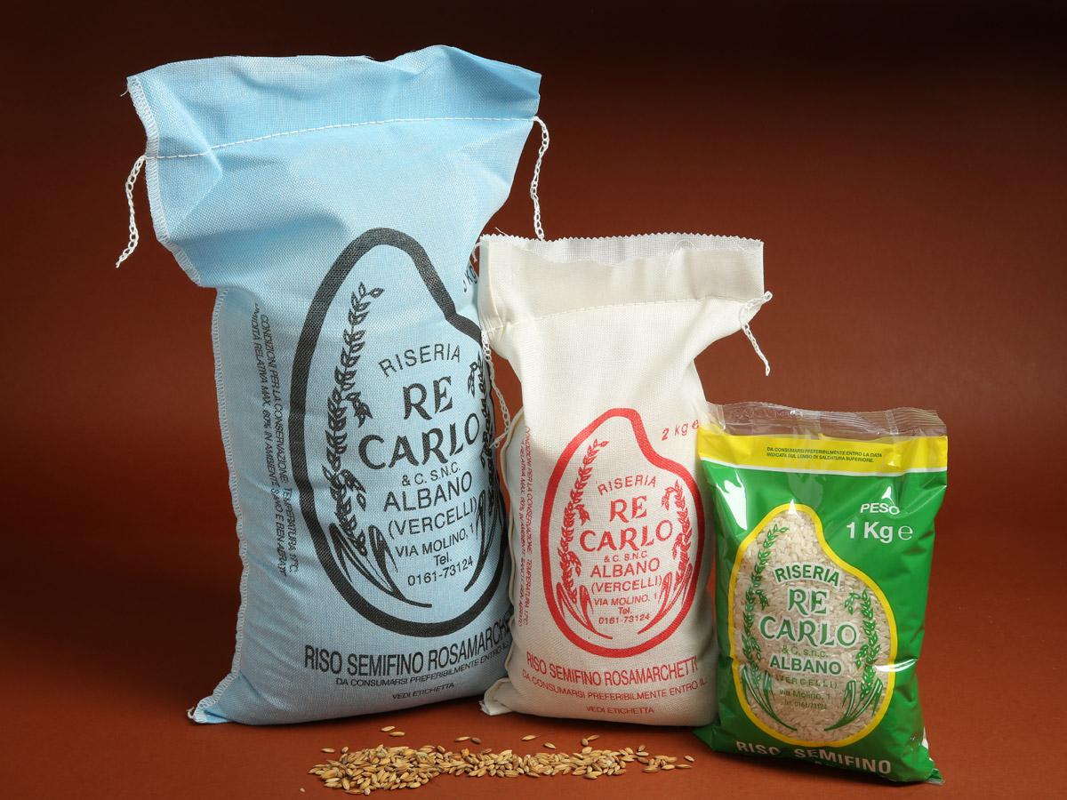 Riseria Re Carlo - Riso semifino Rosa Marchetti - l'autentico riso vercellese di qualità - confezioni da 1kg, 2kg e 5kg