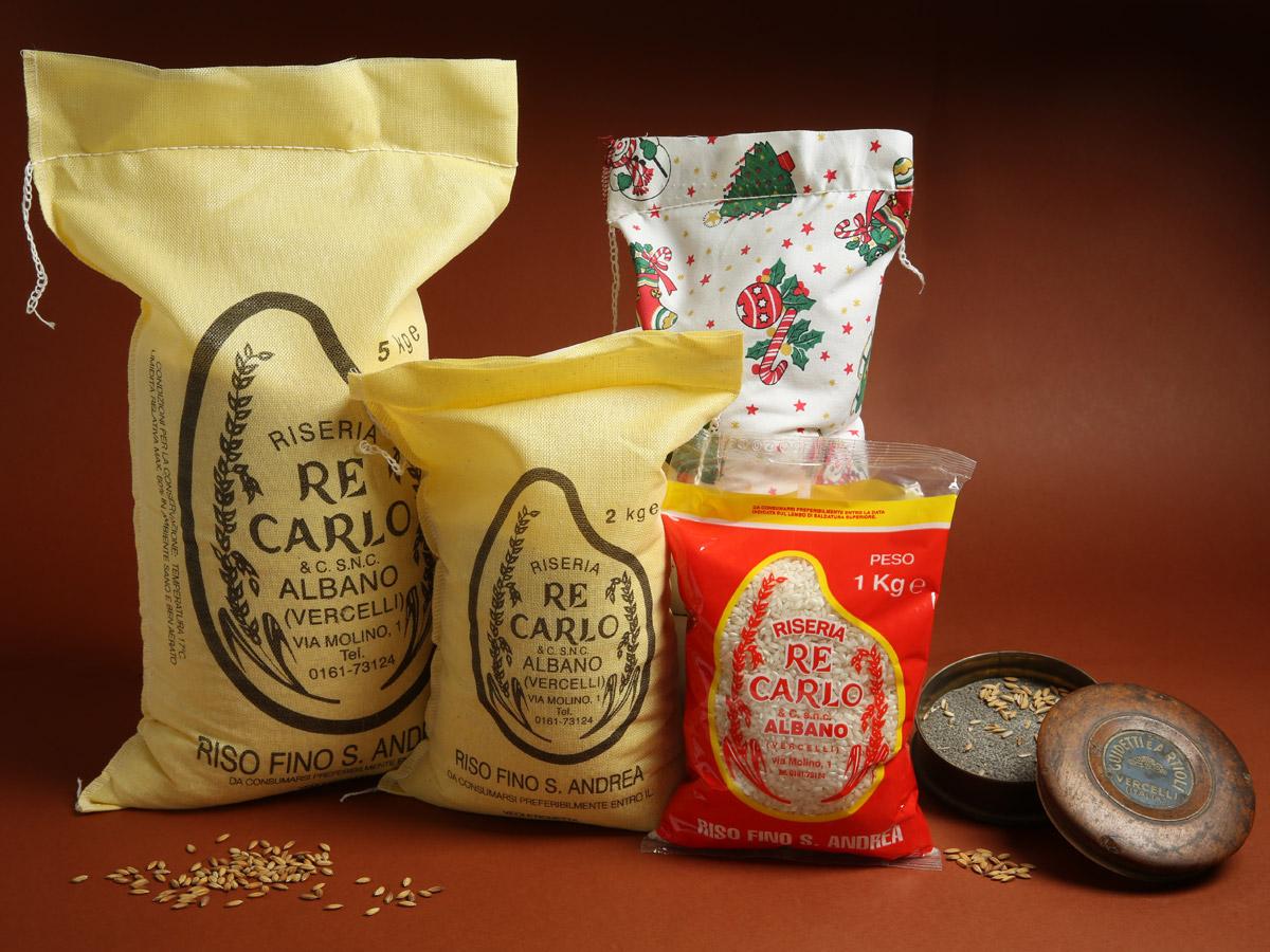 Riseria Re Carlo - Riso fino S. Andrea - l'autentico riso vercellese di qualità - confezioni da 1kg, 2kg, 5kg e natalizie