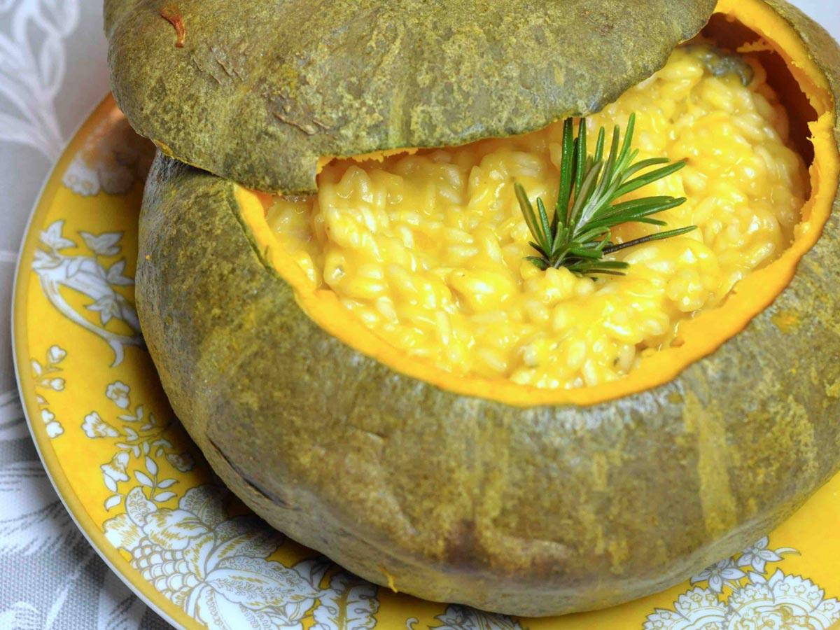 Riseria Re Carlo - Risotto con zucca e gorgonzola - Foto ricetta impiattata