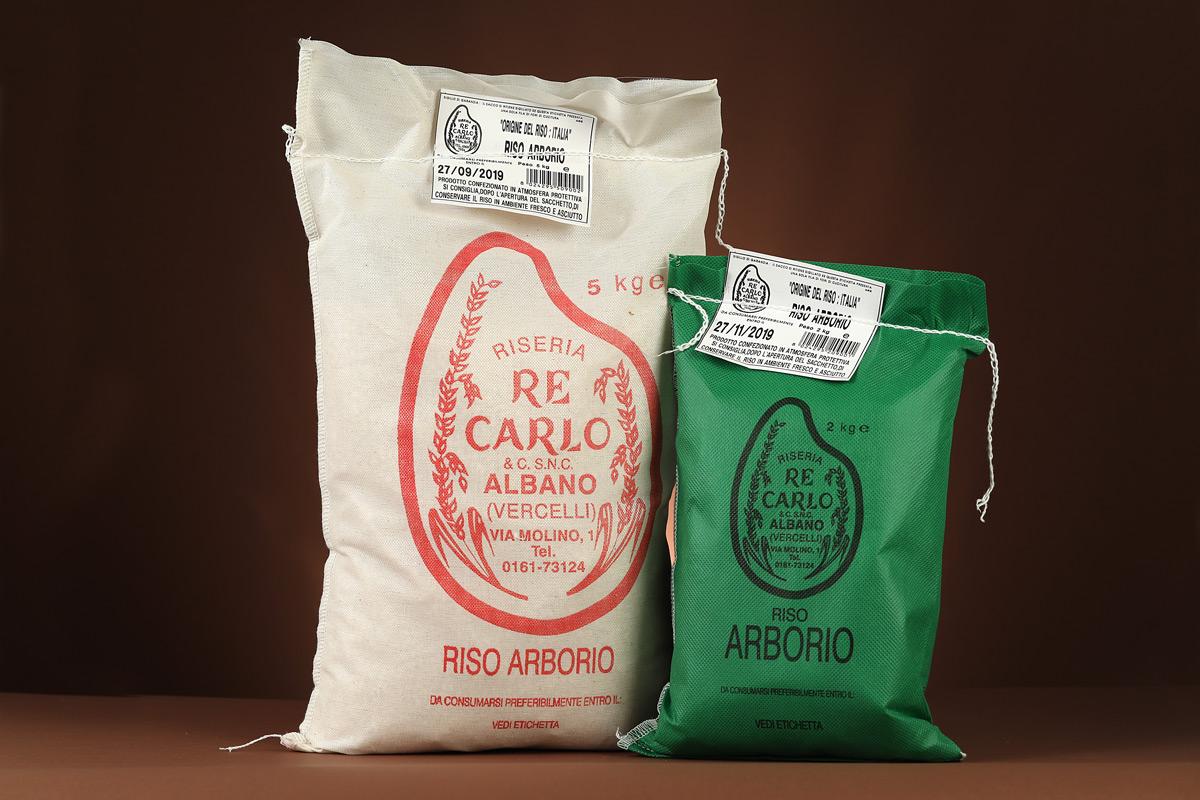 Riseria Re Carlo - Riso Arborio - l'autentico riso vercellese di qualità - confezioni da 1kg, 2kg e 5kg