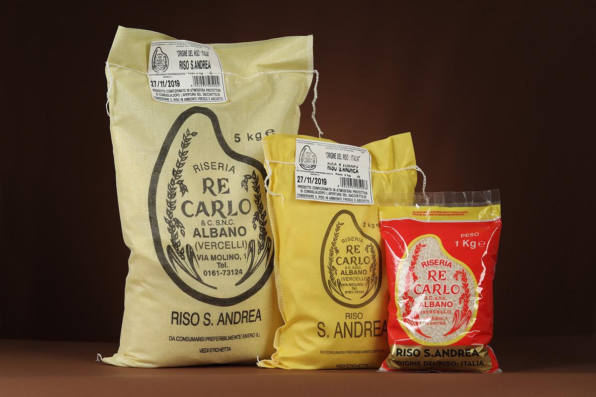 Riseria Re Carlo - Riso S. Andrea - l'autentico riso vercellese di qualità - confezioni da 1kg, 2kg, 5kg e natalizie